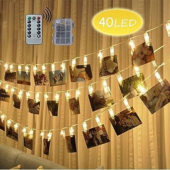 LED Foto Clips Lichterketten, Looyat 40 Photo Clips 5M Fernbedienung  Batteriebetriebene Dimmbare Foto Display