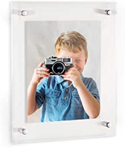 ArtToFrames Floating Acrylic Frame for Pictures Up to 12x16 inches (Full Frame is 16x20) with Chrome Standoff Wall Mount Hardware, Acrylic-109-12x16-69
