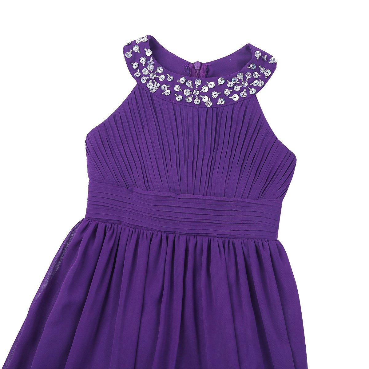 iiniim Junior Kids Flower Girl Dress Sequins Chiffon Wedding Party Summer Ball Prom Evening Gowns Dresses