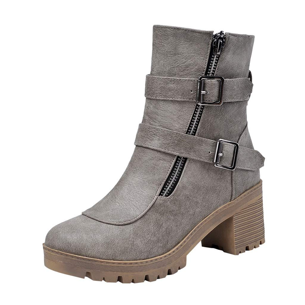 New Respctful✿ Women Buckle Strap Block shoesbooties Cut OutStacked Heel Ankle Boot Gray by Respctful_shoes