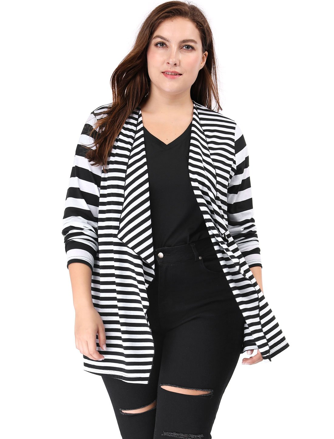 Agnes Orinda Women's Plus Size Open Front Mixed Striped Cardigan 2X Black