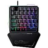 ゲーミングキーボード 片手 LEDバックライト RGB 有線キーボード 持ち運び便利 Windows&Macを対応 人間工学デザイン