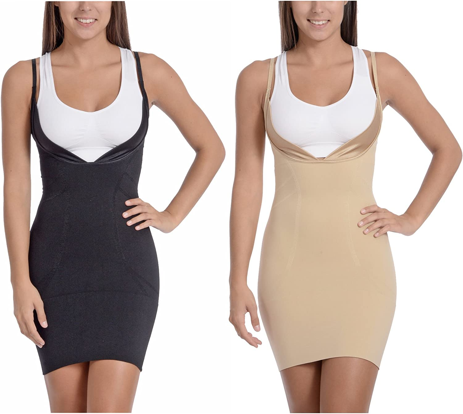 Body Beautiful Womens Seamless Wear Your own Bra Mid Thigh Full Body Slip Shaper with Butt Support with Excellent Slimming.