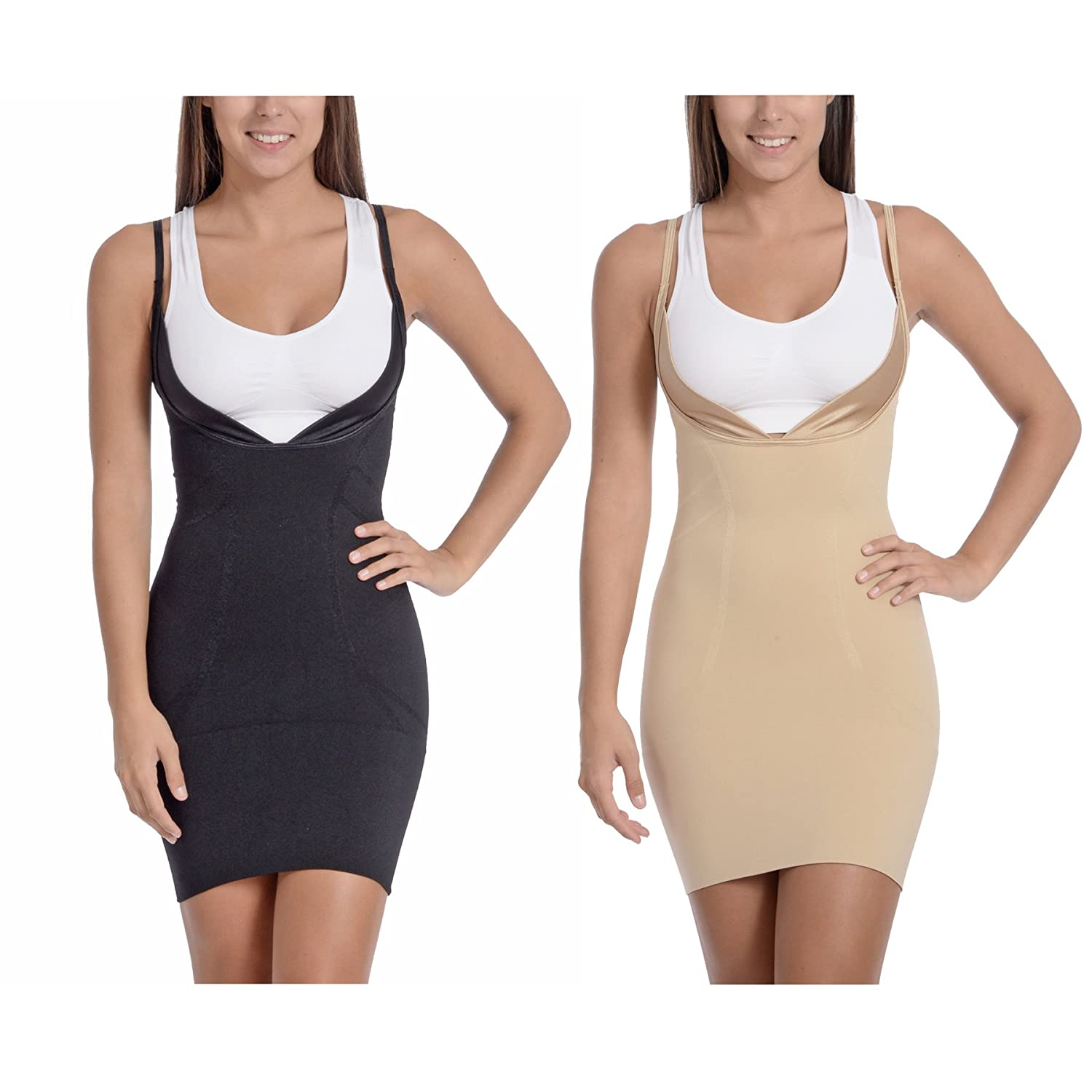 Body Beautiful Women's Open Bust Mid Thigh Full Body Slip Shaper with Butt Support ROSC_1348