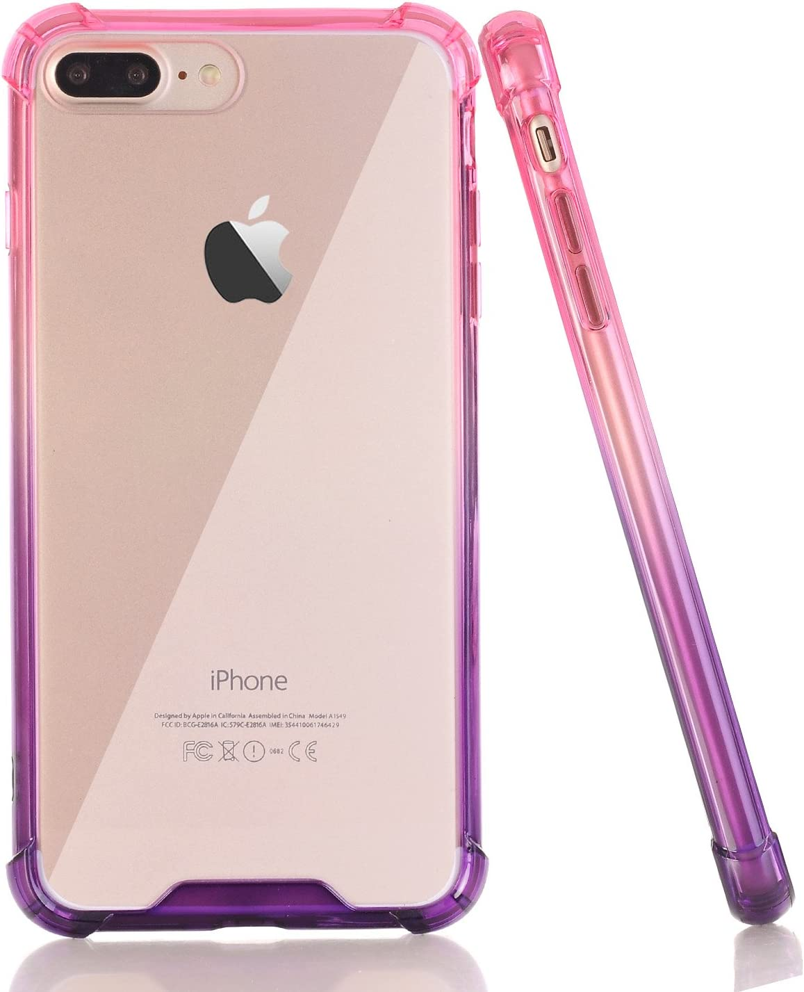BAISRKE Clear Case for iPhone 7 Plus, Slim Shock Absorption Protective Case Soft TPU Bumper & Hard Plastic Back Cover Phone Cases for iPhone 7 Plus / 8 Plus 5.5 inch - Pink Purple Gradient