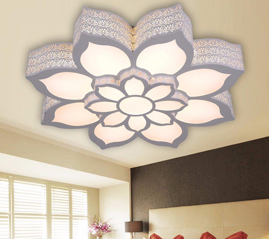 OLQMY-Lotus LED Deckenleuchte, geformt, Warm, Schlafzimmer, Wohnzimmerlampe, Studie Lampe, wrought Eisen Esszimmer Licht,75 * 13cm