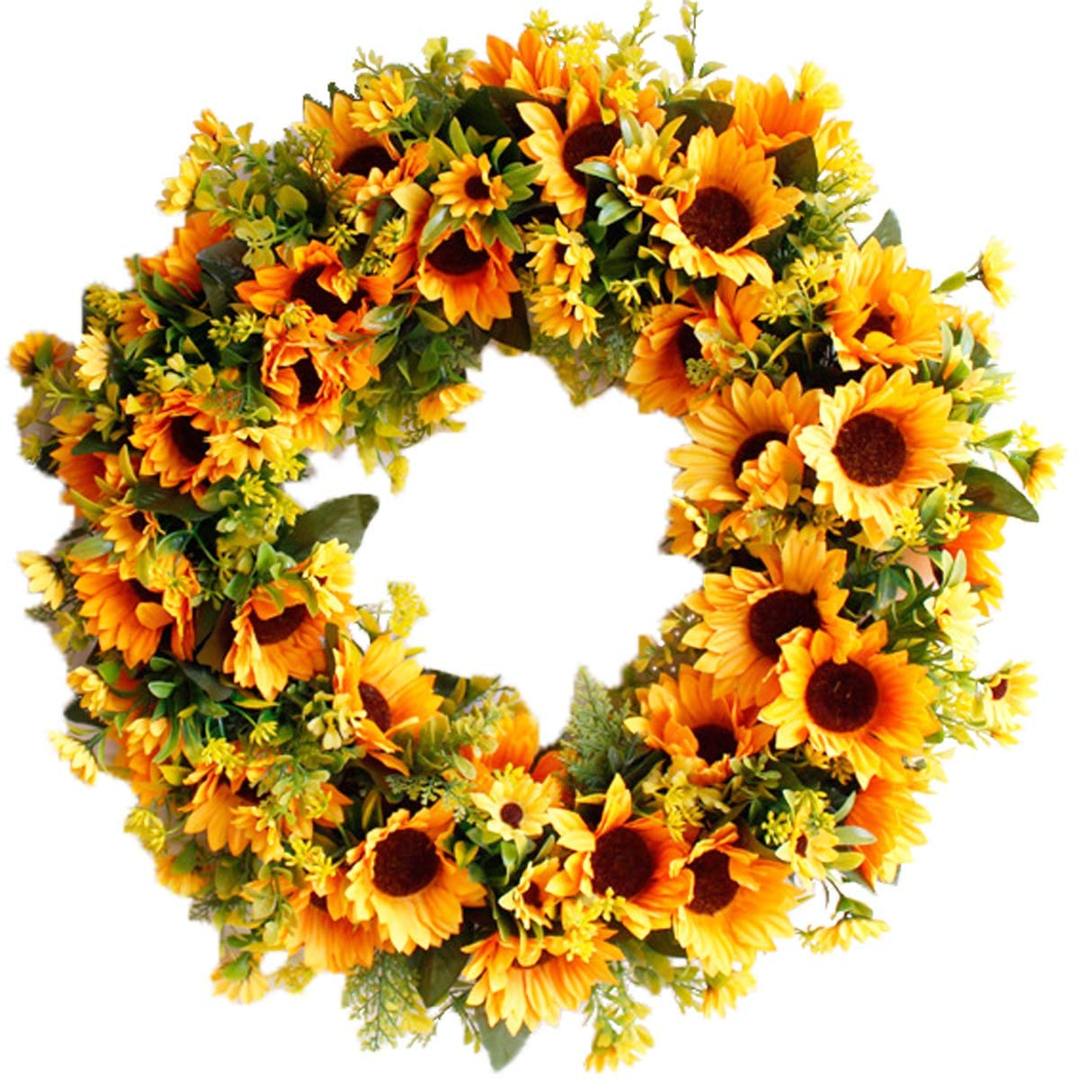 Pauwer 20'' Large Sunflower Wreath for Front Door Silk Artificial Yellow Sunflower with Green Leaves Door Wreath Indoor Outdoor (20'' Sunflower)