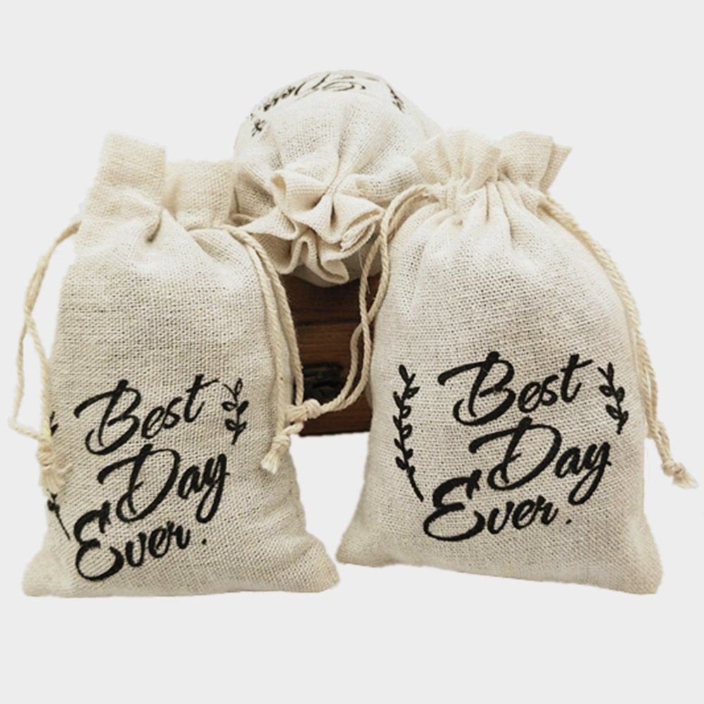 OZXCHIXU OZXCHIXU 10pcs Cotton Wedding Party Favor Bags 4x6 inch Printing Best Every Day with Drawstring Hangover Kit Bags Environmental Washable and Recyclable by OZXCHIXU