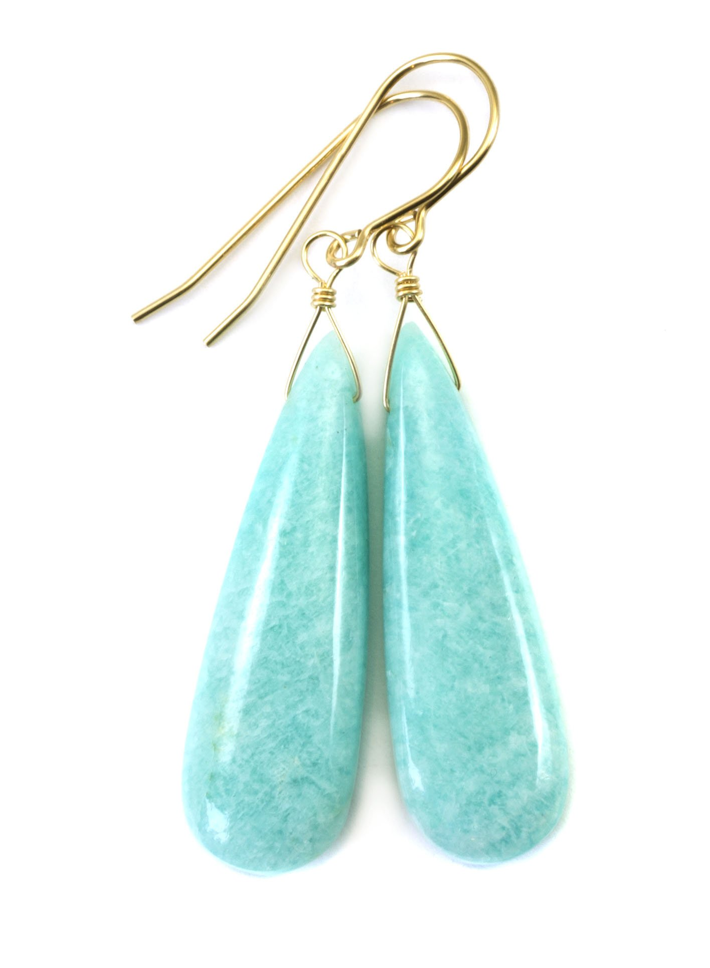 14k Yellow Gold Amazonite Earrings Long Smooth Light Blue Teardrops Simple Contemporary Drops