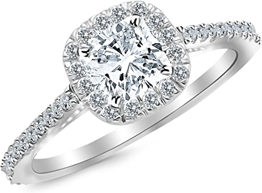 Gia Certified 1 35 Carat Cushion Cut Halo Diamond Engagement Ring W 1 Ct Center D E Color Vs1 Vs2 Clarity Center Stone Amazon Com