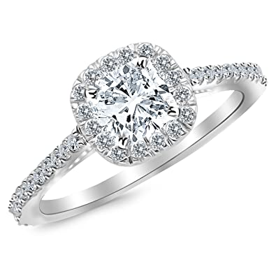 Gia Certified 1 Carat Cushion Cut Halo Diamond Engagement Ring 0 7 Ct Center H Vs2