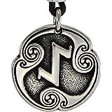 Pewter Norse Viking Eihwaz Eihaz Rune of Defense Pendant Necklace