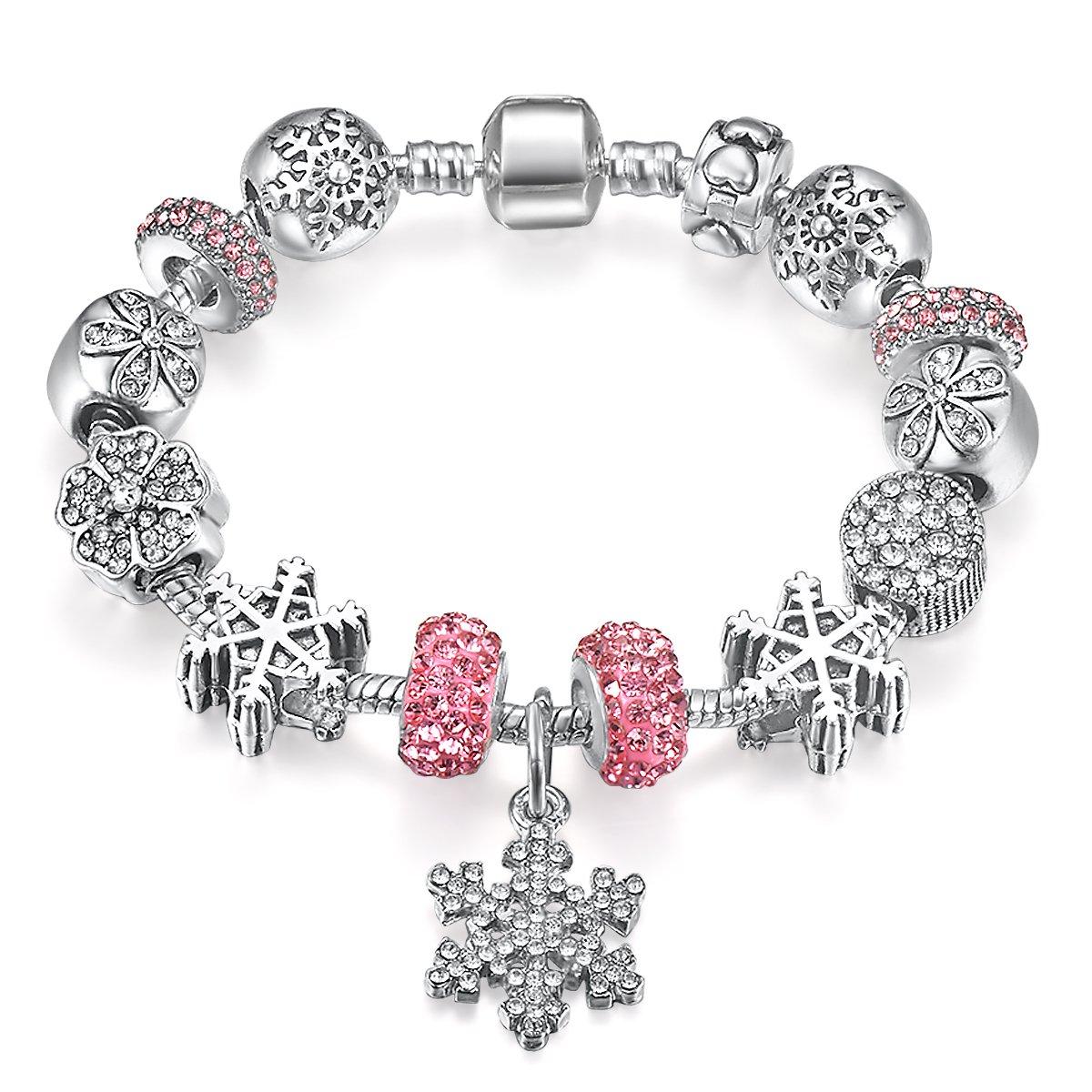 Presentski Silver Plate Charm Bracelet with Four Leaf Clover HB06-18