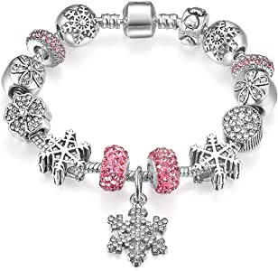 Women Silver Plated Element Snowflakes Themed Pink Charms Bracelet, Jewelry 18cm Birthday Gift for Girl and Daughter