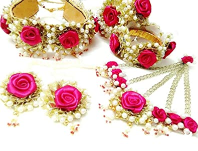 Buy Quvyarts Floret Pink Rose Flower Gota Patti Jewellery Set Non