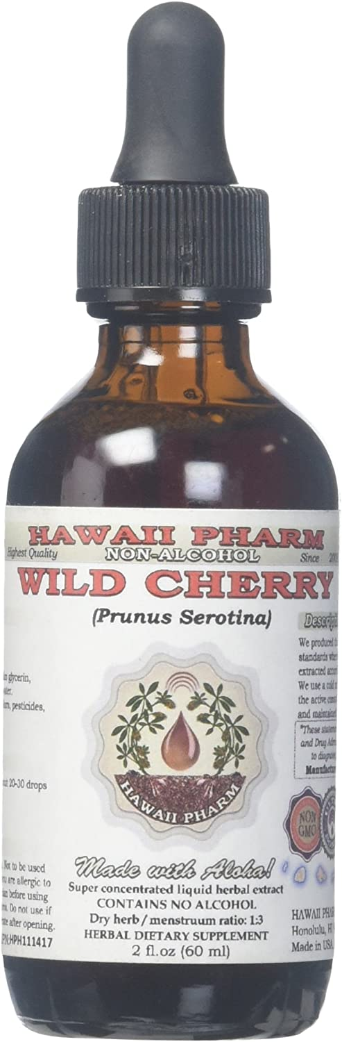 Wild Cherry Alcohol-Free Liquid Extract, Organic Wild Cherry (Prunus Serotina) Dried Bark Glycerite 2 oz