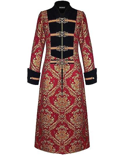 Vintage Lang Devil Aristocrat Gold Gothik Steampunk Rot Fashion Damask Herren Jacke Mantel Schwarz Regentschaft N0wX8nPOkZ