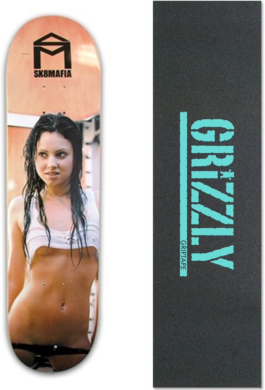 Skate Mafiaスケートボードデッキ – Girlsシリーズ – Wet – 7.75 with Grizzly Griptape グリズリー、スタンプ、ブルー