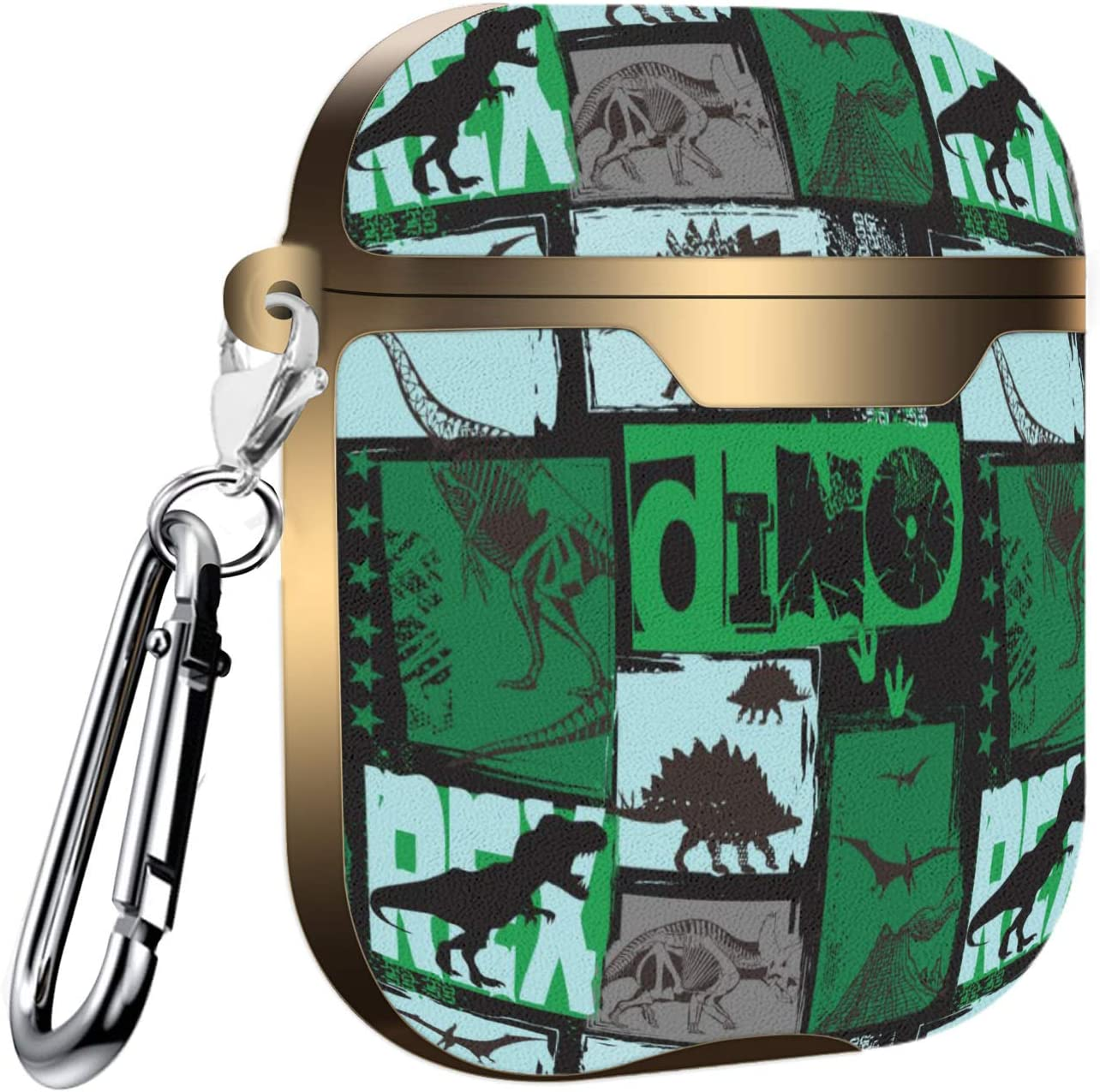 Slim Form Fitted Printing Pattern Cover Case with Carabiner Compatible with Airpods 1 and AirPods 2 Funky Design with t-rex,Dinosaur