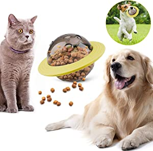 FPVERA Dog Treat Toy UFO Food Dispensing Toy Puzzle Toys IQ Chasing Ball for Dogs and Cats Yellow