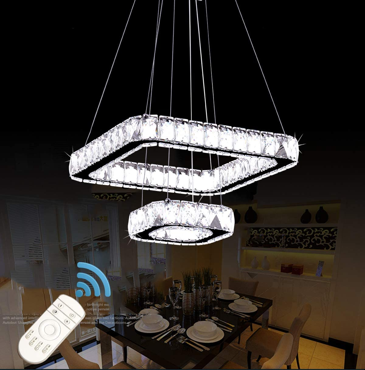 Ganeed Crystal Chandelier,2-Ring 32W Cool White Chandeliers LED Ceiling Lights,Adjustable Height Pendant Lights Hanging Light Fixture for Living Room Dinner Room Bedroom Kitchen Dia 7.8 15.7