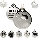 Stainless Steel Cat ID Tags - Engraved Personalized Cat Tags Includes up to 4 Lines of Text for Cat