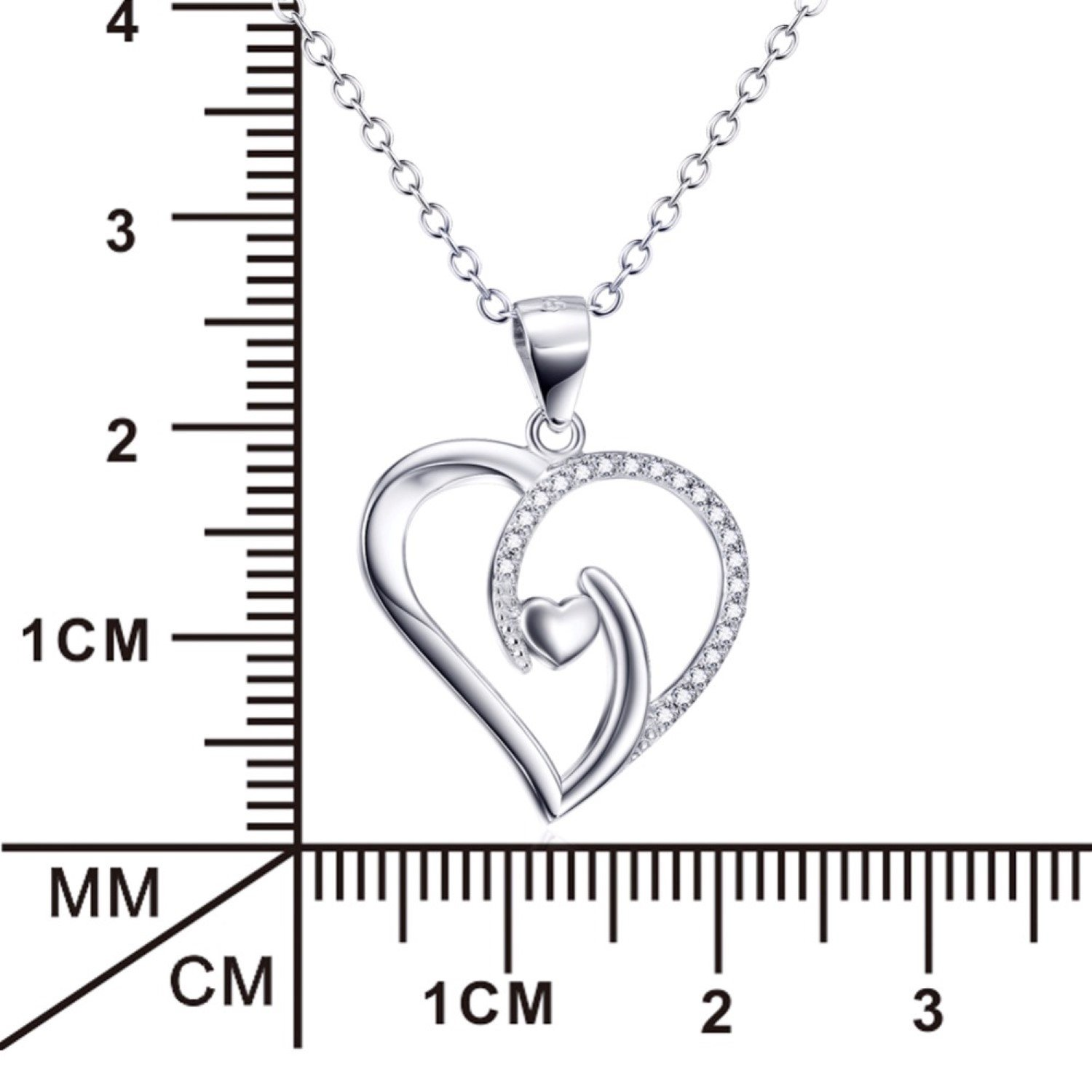 CS-DB Necklaces Love Heart Crystal Pendent