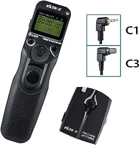 VILTROX Wired or Wireless Shutter Release Timer Remote Control C1/C3 for Canon EOS R 80D 77D 70D 60D T7i T6i T6 T5i Rebel T3 760D 650D M5 M6 5D IV III 5D 6D 7D Series 1D PowershotG10