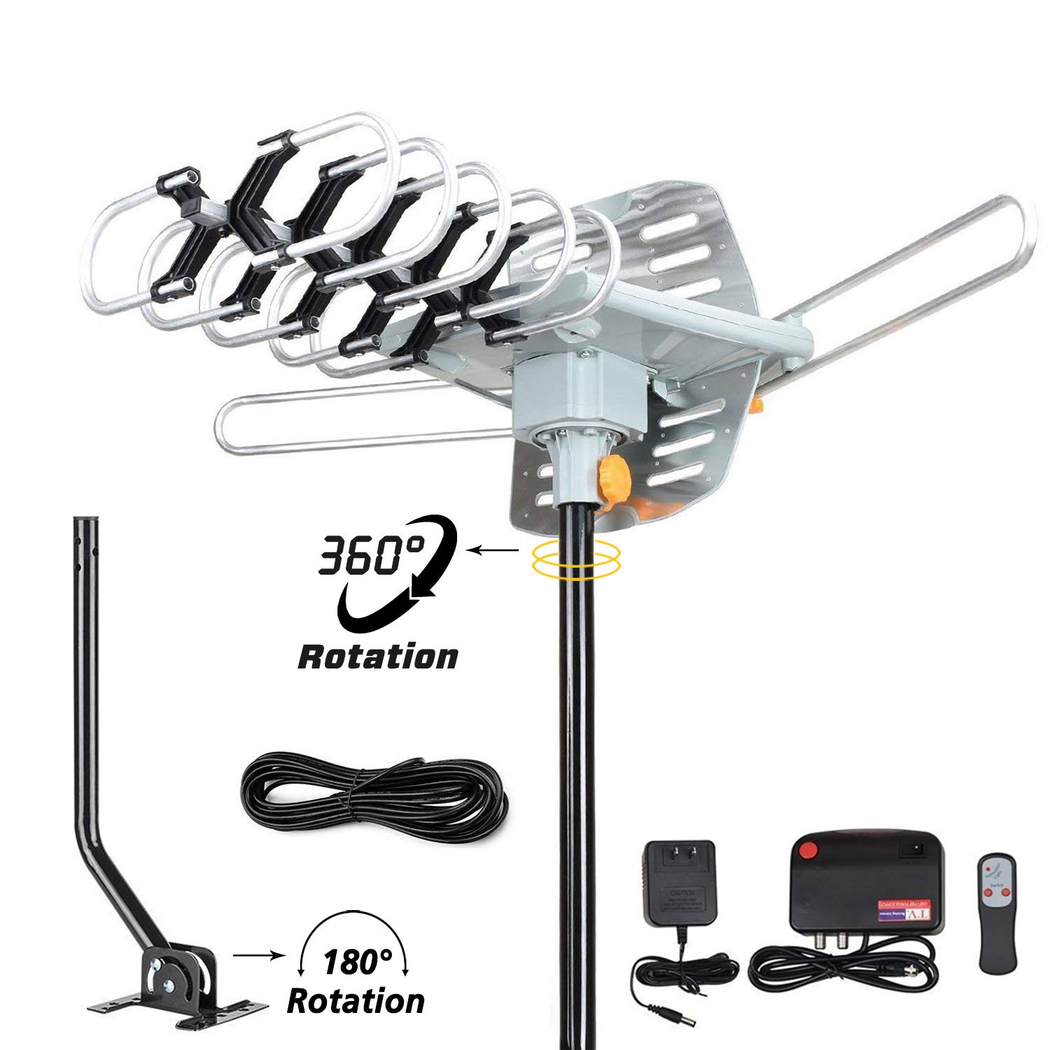 TV Antenna-150 Miles Range Amplified Digital Outdoor HDTV Antenna with Mounting Pole & 33FT RG6 Coax Cable-360 Degree Rotation Wireless Remote-Snap-On Installation Support 2 TVs by PACOSO