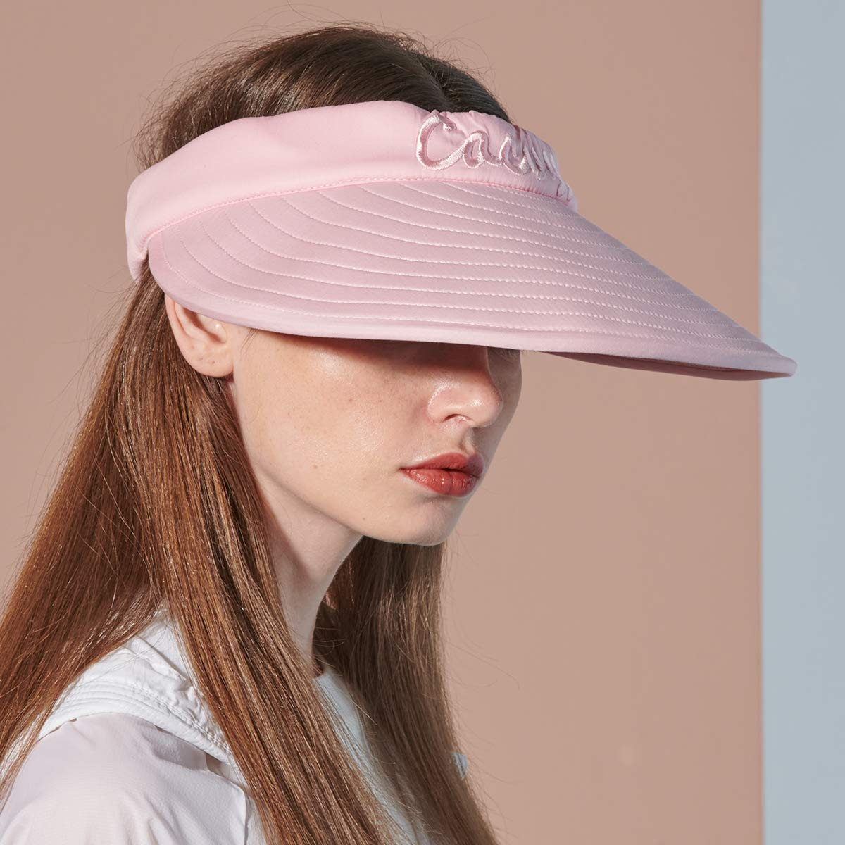 CACUSS Women's Summer Sun Hat Large Brim Visor Adjustable Magic Tape Packable UPF 50+(Pink) by CACUSS (Image #3)