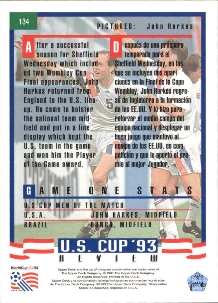 1993 Upper Deck World Cup 94 Preview English/Spanish #134 John Harkes at Amazons Sports Collectibles Store