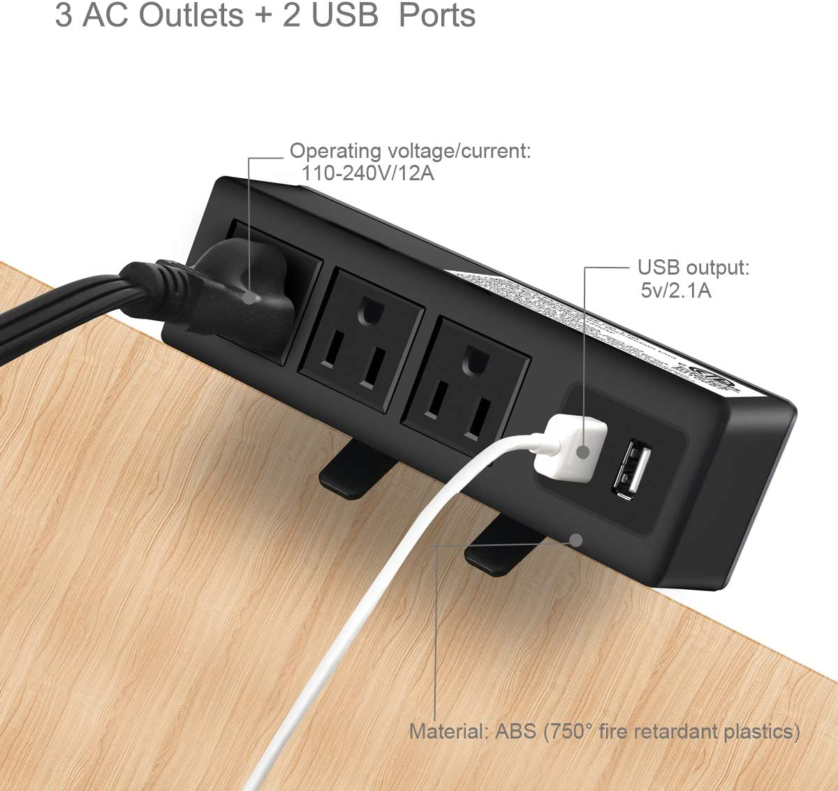 6.5 ft Extension Cord Connect 2 Plugs for Home Office Reading /¡/ Desktop Edge Power Strip Removable Clamp Power Outlet Socket with USB Port