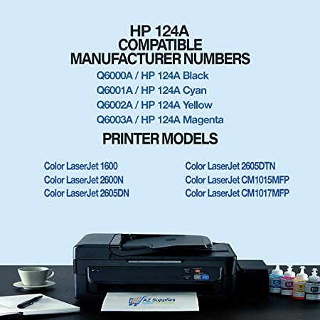 Amazon Com Az Supplies Compatible Toner Cartridge Replacement For Hp 124a Set Q6000a 6001a 6002a 6003a 2600n 1600 2605dn 2600 2605dtn Black Cyan Magenta Yellow Office Products
