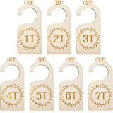 7 Pieces Baby Closet Size Divider Wooden Kids Closet Organizers Hanging Closet Dividers from 1T to 7T for Home Nursery Baby Kids Newborn Infant Clothes