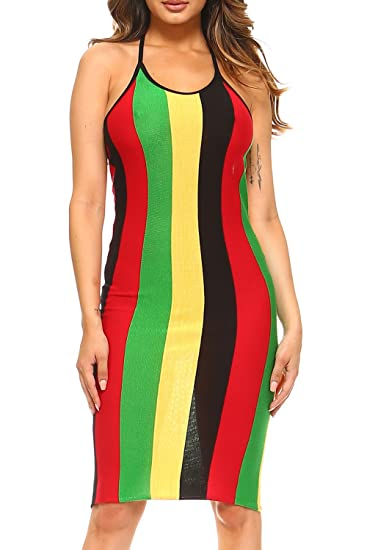 3aadd0267a GENx Womens Rasta Jamaica Open Back Halter Neck Knitted Midi Dress D1505  (L, Multi) at Amazon Women's Clothing store:
