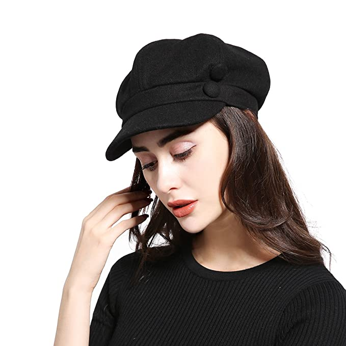 JOOWEN Unisex Melton Wool newsboy Gatsby IVY Baker Boy Cap Visor Beret Cabbie  Hat For Ladies f203d72aef