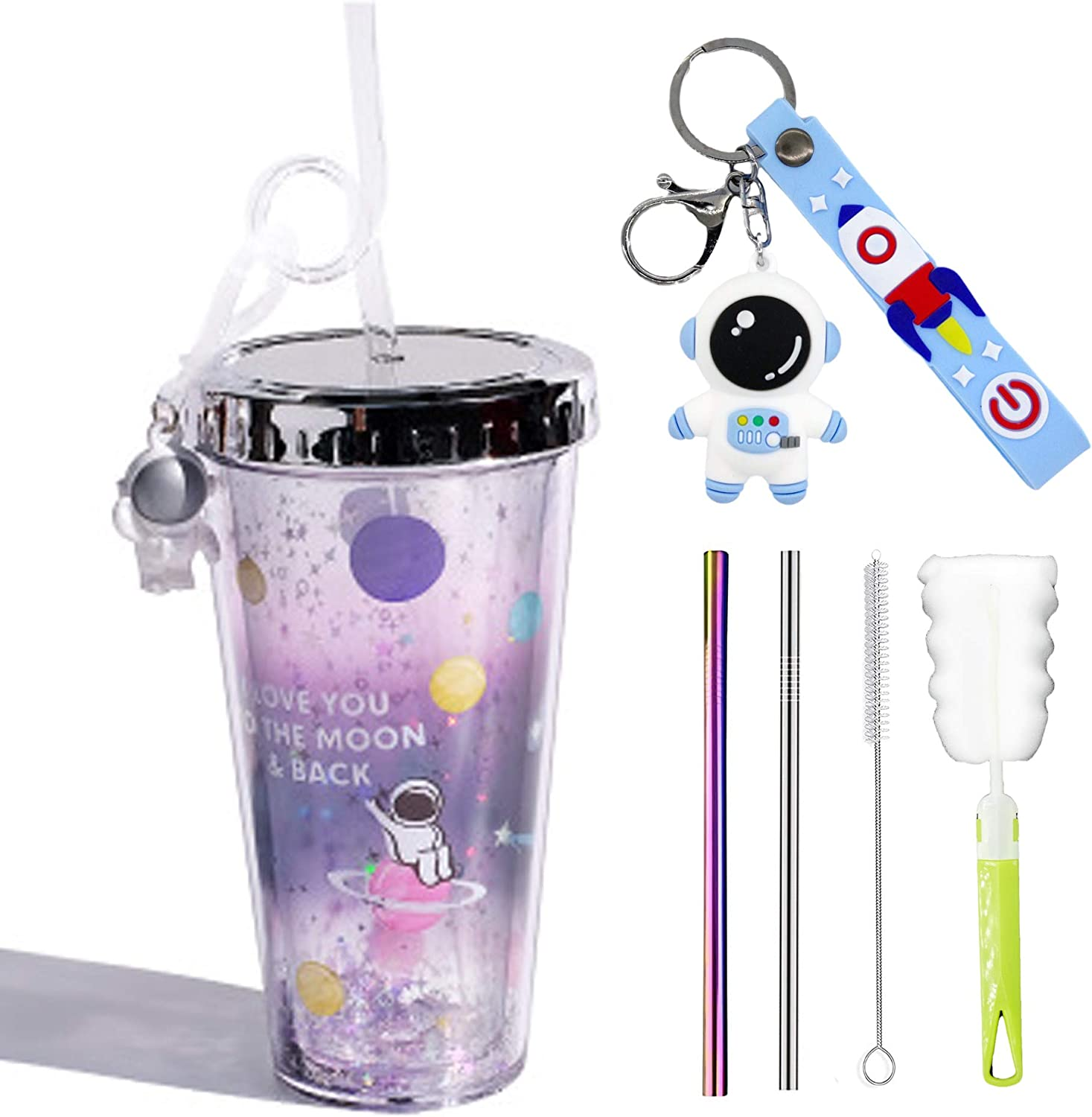 Astronaut Travel Tumblers for kids Cups for adults Space Purple Drinking Cups with straw lid Travel Ice Coffee Trumblers Man Reusable Plastic Cup Water Bottle (Astronaut hello, 420ml)