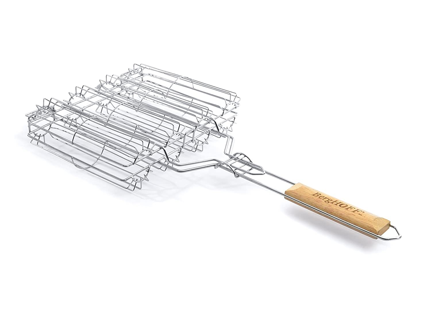 BergHOFF 4490304 Non-Stick Vegetable BBQ Grilling Basket with Wood Handle - Silver
