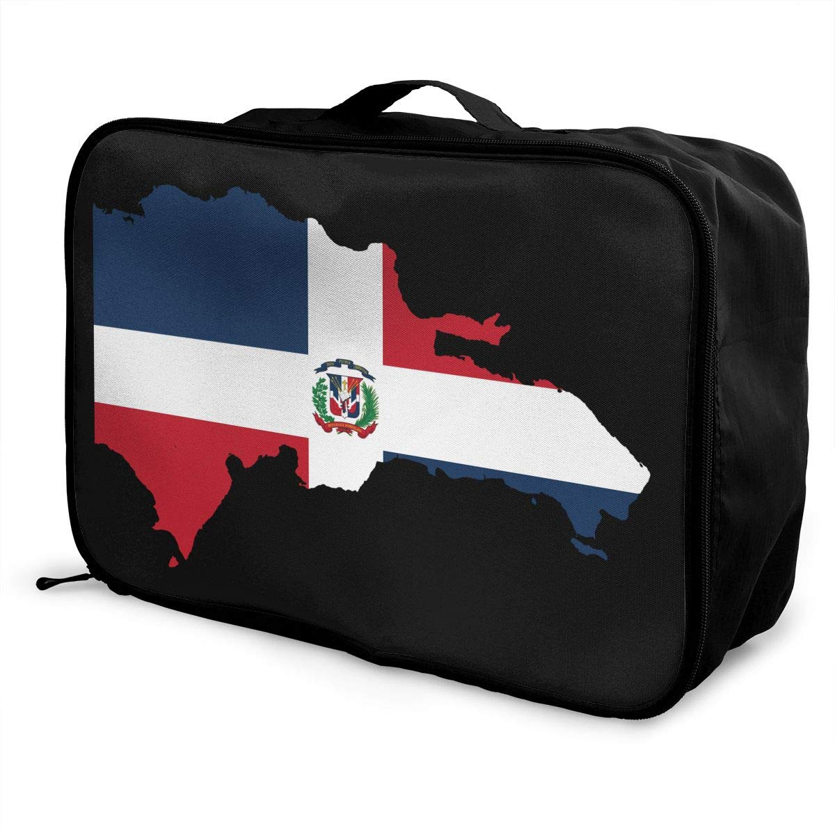 YueLJB Dominican Republic Flag Outline Lightweight Large Capacity Portable Luggage Bag Travel Duffel Bag Storage Carry Luggage Duffle Tote Bag