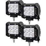 "Auxbeam 4 Pcs 4"" LED Light Bar 18W LED Pods 1800LM Flood Beam Off Road Lights for SUV ATV UTV Jeep Trucks Pickup"