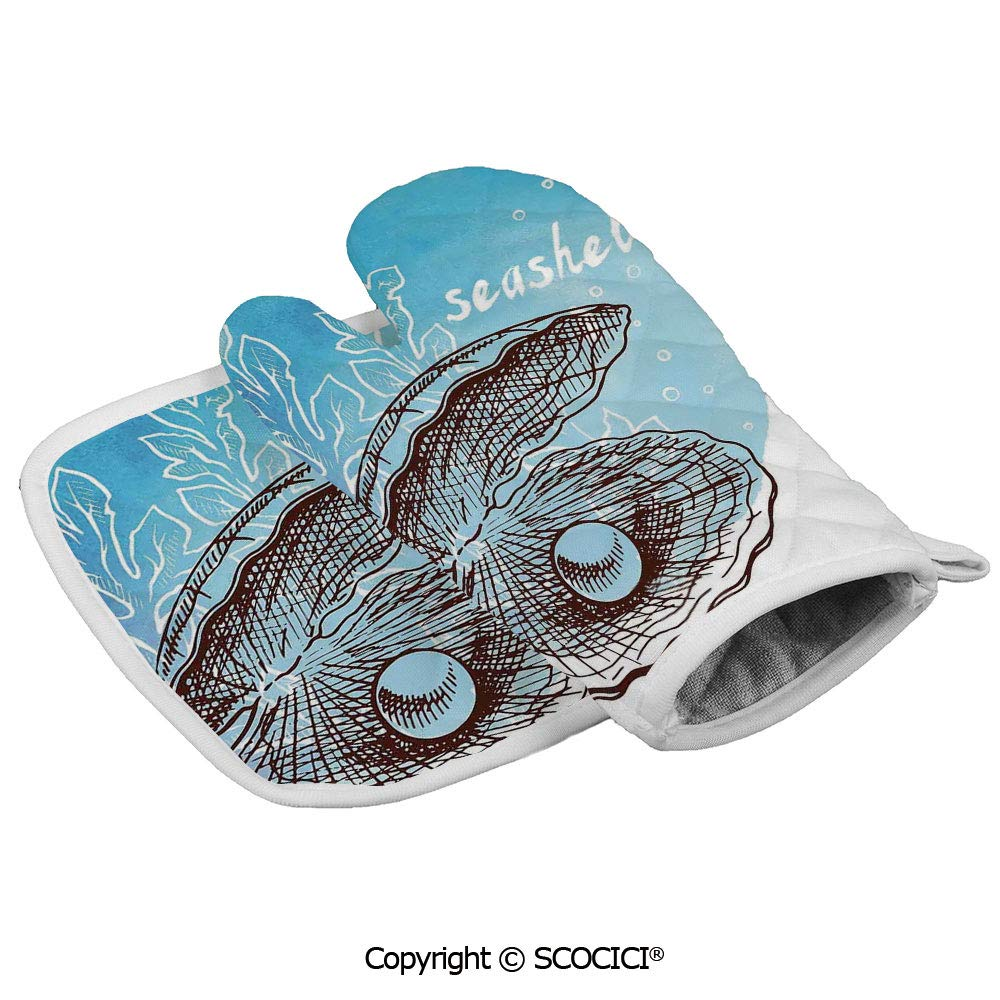 SCOCICI Oven Glove Microwave Glove Pearl in Clam Seashell and Seaweed Watercolor Art Style Painted Print Tropical Barbecue Glove Kitchen Cooking Bake Heat Resistant Glove Combination