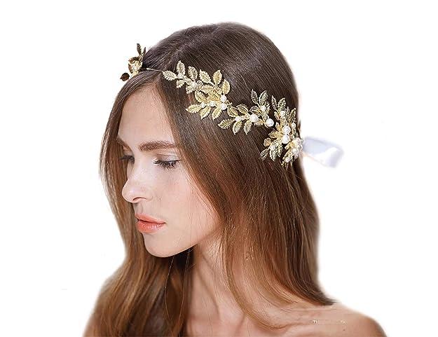 Diadema tipo corona color oro con perlas y cristales para novia.
