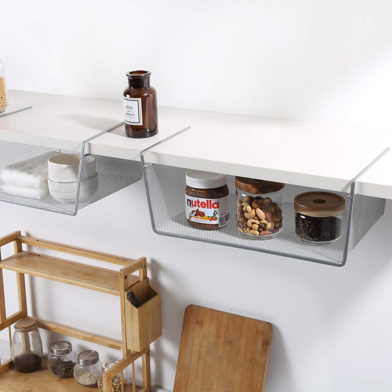 LaCyan Cestas Colgantes Met/álicas bajo Estantes Organizador para Armario Armarios Cocina S 28,5 x 26 x 16 cm