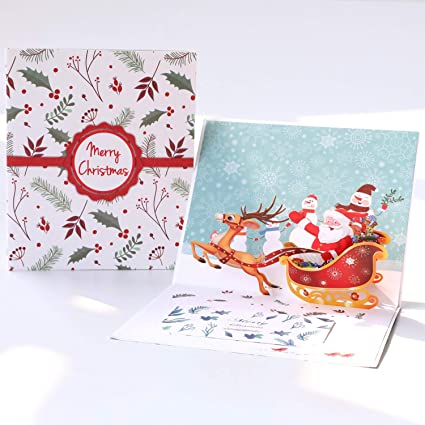 paper spiritz pop up christmas cards santa ride holiday greeting cards happy new year