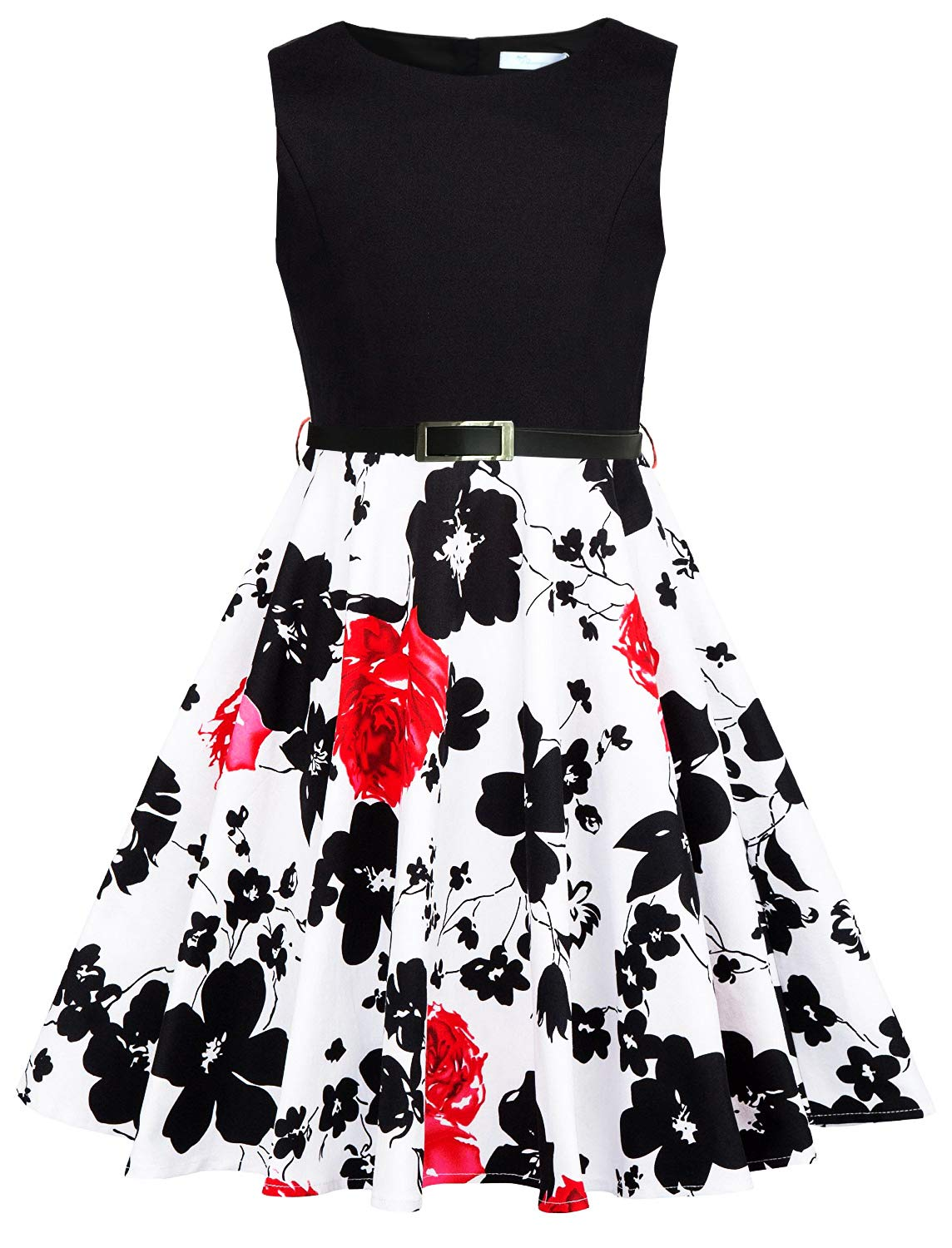 Sharequeen Girls Summer Sleeveless Fit and Flare Patchwork Print Party Dresses A099 (6-7 Years, Black)