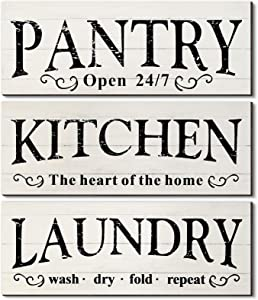 3 Pieces Laundry Sign Wood Rustic Pantry Sign Kitchen the Heart of the Home Wooden Wall Decoration Farmhouse Laundry Pantry Room Wall Hanging Decor Sign for Farmhouse Home Wall Decor, 16 x 6 Inch
