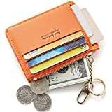 Women's Mini Soft Leather Business Card Wallet with Key Chain Card Sleeve Coin Purse(Orange)