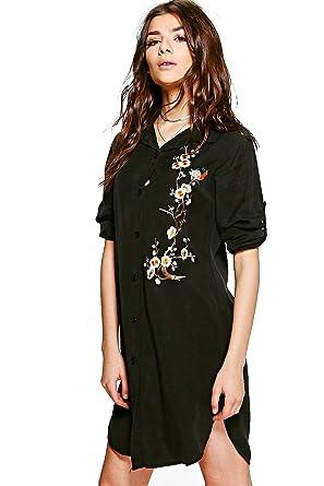0f78a411a99 Noir Femmes Pamela Robe Chemise Brodée - S  Amazon.fr  Vêtements et ...