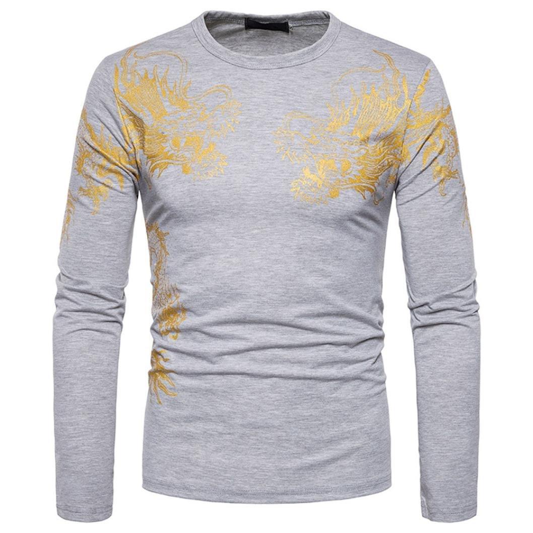 Paolian Hommes Dragon D'Or Imprimé Manches Longues Sweatshirt T-Shirt