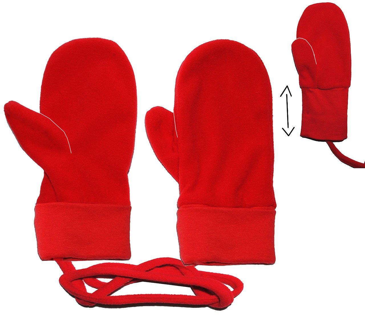 Unbekannt Handschuhe / Fleecehandschuhe - Baby - Gr. 2 Jahre bis 4 Jahre - rot - Fleece Fäustlinge / Däumlinge mit Daumen - Babyhandschuhe - Erstlingshandschuhe / Faust.. Kinder-land